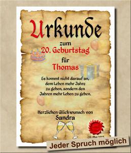 Urkunde zum 20. Geburtstag Geschenk Geschenkkarte Personalisiert Dekoration