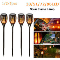 4pcs LED Solar Path Torch Light Dancing Flame Lighting Flickering Garden Lamp