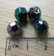 70 AB black round faceted plastic acrylic beads 8mm iridescent