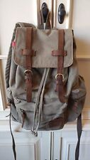 Augur Strauss & Co. Canvas & Leather Padded Backpack/School Bag/Hiking Nice!