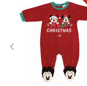 Disney Store Mickey Minnie BodySuit Sleepsuit Christmas Outfit 3-6 Months New