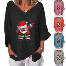 Christmas Womens V-Neck 3/4 Sleeves Blouse T Shirt Fashion Autumn Loose Tops Tee