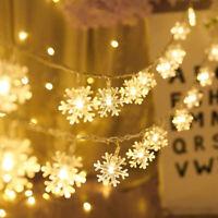 LED Schneeflocke Lichterkette Lichtervorhang Fenster Weihnachten Beleuchtung Dek