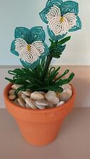 Handmade french beaded Flower Pansy plant in Clay pot teal and white flowers