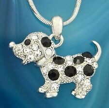 """DOG Necklace Made With Swarovski Crystal Pet Black Clear Pendant 18"""" Chain"""