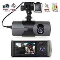 "2.7"" Dual Lens Dash Cam Full HD Car DVR Camera Video Recorder w/ GPS Logger"