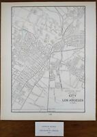 "Vintage 1901 LOS ANGELES CALIFORNIA Map 11""x14"" ~ Old Antique Original CHINATOWN"