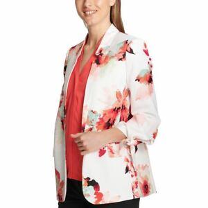 CALVIN KLEIN Women's Printed Tie-sleeve Lined Satin Blazer Jacket Top 12 TEDO