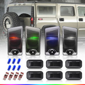10X Smoke Cab Roof Clearance Top Light Cover for 03-09 Hummer H2 SUT w/RGBW Bulb