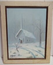 "Vtg. Winter Snow Scene W Church Oil Canvas Painting Picture 9"" x 12"" A.L Baker"
