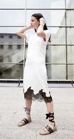 ZARA STUDIO White Satin Slip Dress Black Lace Trim Midi S Small BNWT