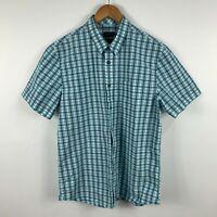 Sportcraft Mens Button Up Shirt Size Medium Multicoloured Plaid Short Sleeve