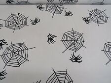White Spiders Web Cotton Fabric Curtain Upholstery Quilting Crafts Blinds