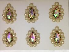 Pearl Gold Multi Ivory Applique,Motif,edging,trim,sequins,beads (4.5cm X 6cm)