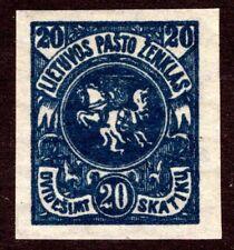 Lithuania Scott #95a 20 Skatiku Deep Blue Imperforate Mint OG Watermarked 109