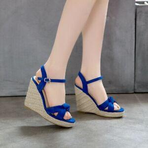 Women's Ankle Strap Faux Suede Shoes Wedge High Heels Buckle Ladies Pump Sandals
