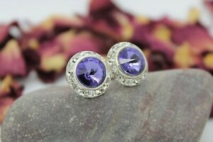 Tanzanite 13mm Silver Stud Earrings made with Swarovski Crystal Elements