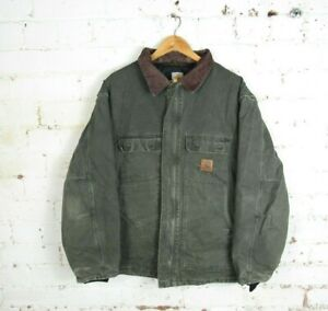 VTG Carhartt Faded Green Long Arctic Traditional Lined Padded Coat Workwear | XL