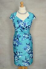 BNWT Jacques Vert teal green floral capped sleeve pencil dress 18 Mother Bride