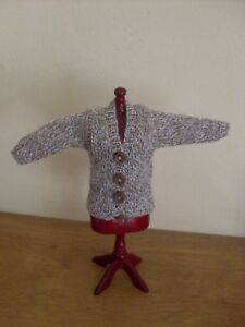 Dollshouse Miniature Cardigan ~ BEIGE TWEED ~
