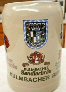 West Germany Gerz Ceramic Pottery Beer Bier Mug Vintage Kulmbacher Sandlerbräu