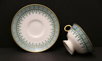 Theodore Haviland Cambridge Green Footed Cup & Saucer. Gold Trim