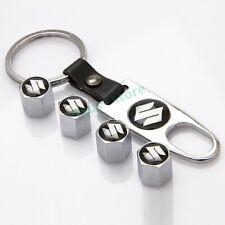 1Set For Suzuki Car Wheel Tire Valve Stems Caps Keyring Keychain Styling Logo