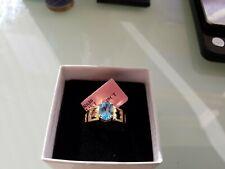 Beautiful 1.28 CT Blue Topaz 14K yellow gold size 6 Bridal Wedding ring