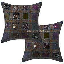 Decorative Sequins Patchwork Cotton Cushion Pillow Covers Grey Geometrical Set