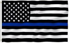 Anley Thin Blue Line Police Usa Flag Respect and Honor Banner 3x5 Foot Us Flags