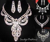Rhinestone Necklace Bridal Jewelry Wedding Set Earring