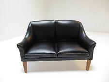 Dollhouse Miniatures Furniture 1/12: 3150 Black Leatherette Sofa