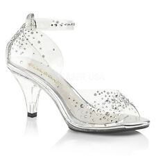Clear Cinderella Shoes Disney Princess Wedding Glass Slippers Heels Womans size