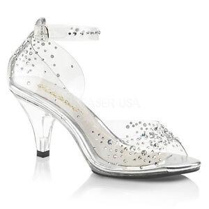 Clear Cinderella Shoes Disney Princess Wedding Glass Slippers Heels Womans 7 8 9