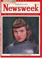 1947 Newsweek January 27 - Ingrid Bergman; Talmadge of Georgia; Detroit Negroes