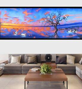 Pelican birds Sunset Australia Landscape Painting original artwork wall decor