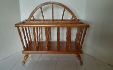 Vintage Solid Wood Magazine Rack w/ Handle Spindles Great Condition