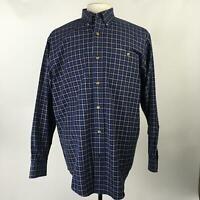 ORVIS Navy Blue Multi Plaid Button Down Shirt LS 100% Cotton Mens Size Medium