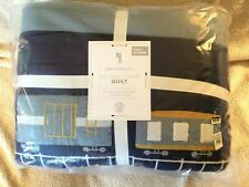 pottery barn kids Maxwell Train full queen quilt blue multi