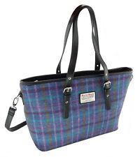Ladies Authentic Harris Tweed Tote Bag With Shoulder Strap Purple Multi Check 51