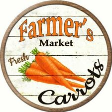 Farmers Market Fresh Carrots Metal Novelty Round Circular Sign