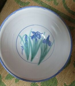 """Beautiful Asian inspired 10 1/2"""" bowl w/ Iris design Signed on bottom Excellent!"""