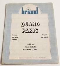 Partition sheet music JEAN SABLON : Quand Paris * 70's