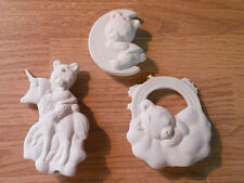 C-0941 Set of (3) Christmas Baby Teddy Bear ornaments Ceramic Bisque