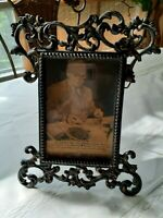 Antique Cast Metal Filigree Photo Frame w/Harry Truman paper clipping