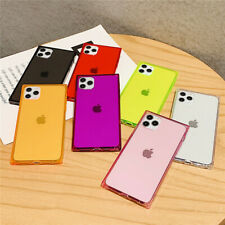 For iPhone 12 11 Pro Max Mini XR 8 7 Square Shockproof Clear TPU Soft Case Cover