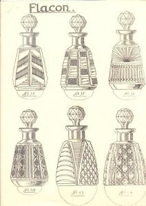 1930's technical drawing design print Czech crystal glass perfume bottles