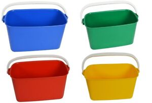 Window Cleaners Rectangular Bucket 9 Litre Oblong 4 Colours Applicator Cleaning