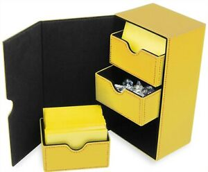 BCW Yellow Leatherette Deck Box Vault LX 200 Hold Sleeve Topload Gaming CCG Card