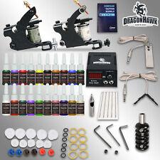 Professional Tattoo Kits 2 guns Coil Machines 20 ink Sets Power Supply Black Set